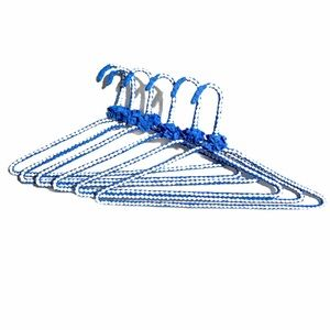 Handmade 6pcs Fabric Wrap Wire Hangers Blue White